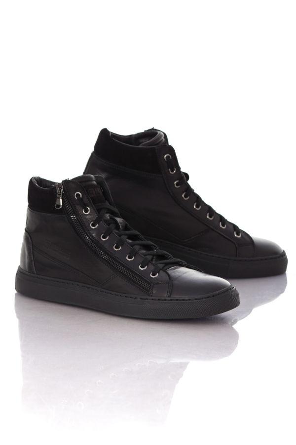 baskets en cuir homme chaussures redskins nerino noir cuir. Black Bedroom Furniture Sets. Home Design Ideas