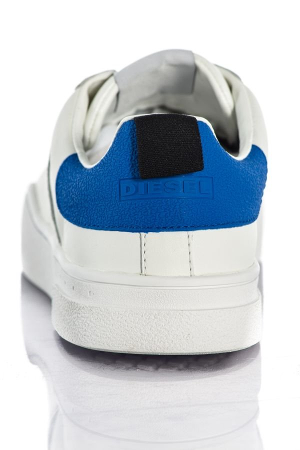 Baskets En Cuir Homme Diesel S-CLEVER LOW WHITE BEILLIANT BLUE H4034