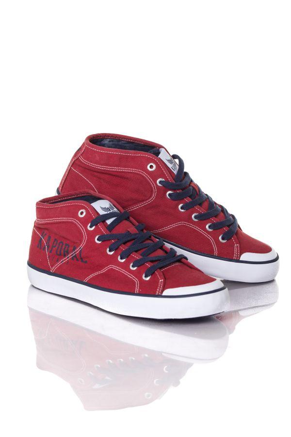 the best attitude 26227 74b78 En Kaporal Baskets Rouge Shoes Cuir Homme Kiriel Toile R8RPZ