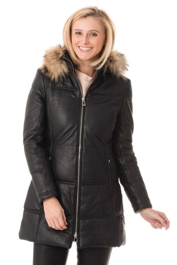 manteau cuir noir orse capche