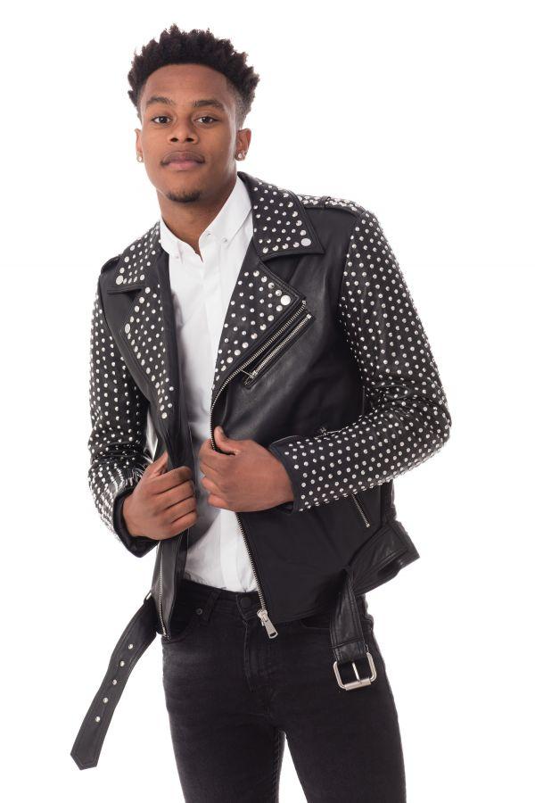 Black Stud Homme Blouson Cuir Rocky Ladc tISZ8qw0