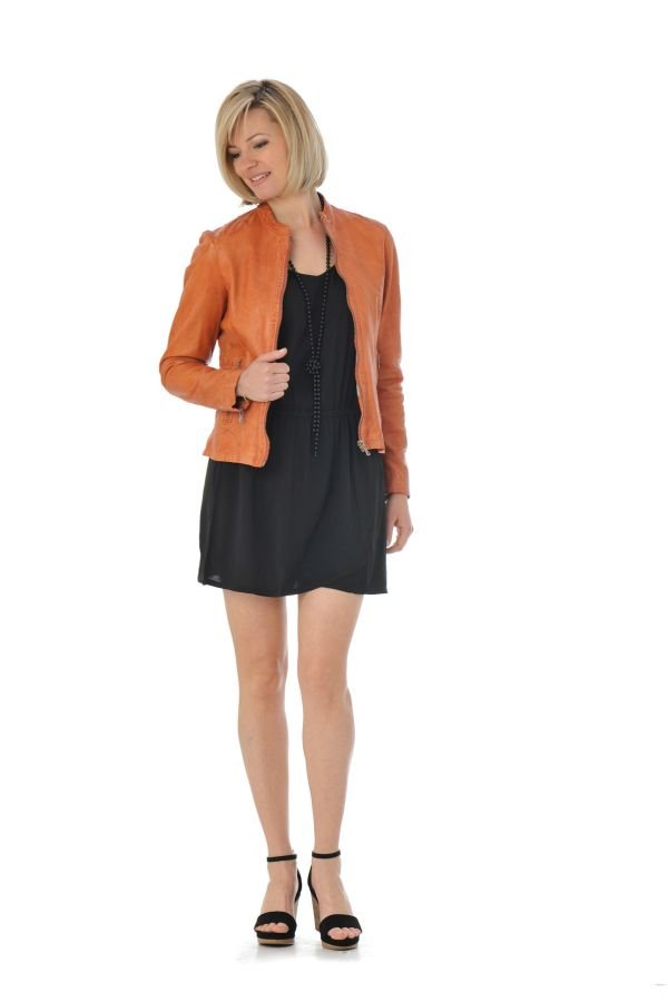Blouson femme oakwood tonic orange fonce 551 cuir - Boutique orange beauvais ...