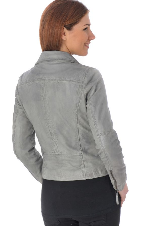 blouson femme oakwood azur gris clair 528 cuir. Black Bedroom Furniture Sets. Home Design Ideas