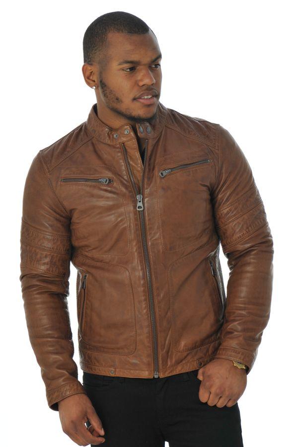 Blouson cuir redskins marron homme