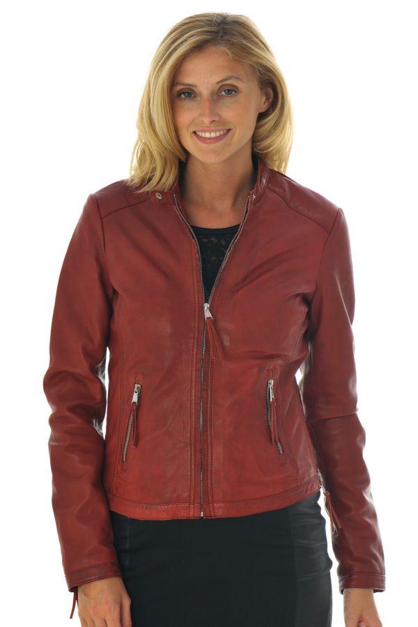 veste en cuir redskins marron foncé femme