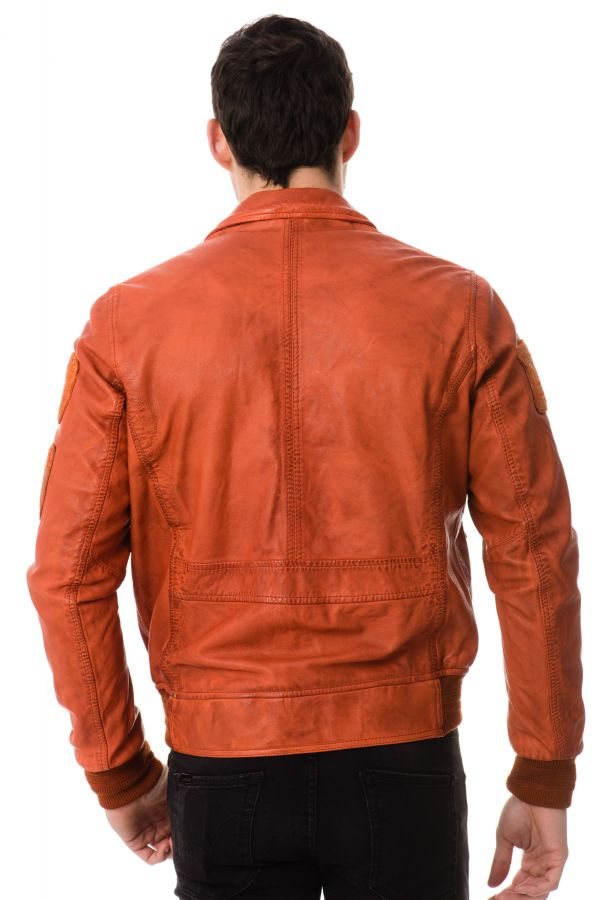 Blouson homme redskins hawk liverpool orange p17 cuir - Boutique orange beauvais ...