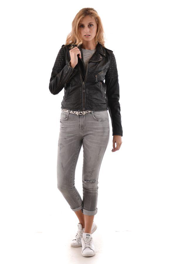 Blouson Femme Schott LCWVIX ANT BLACK