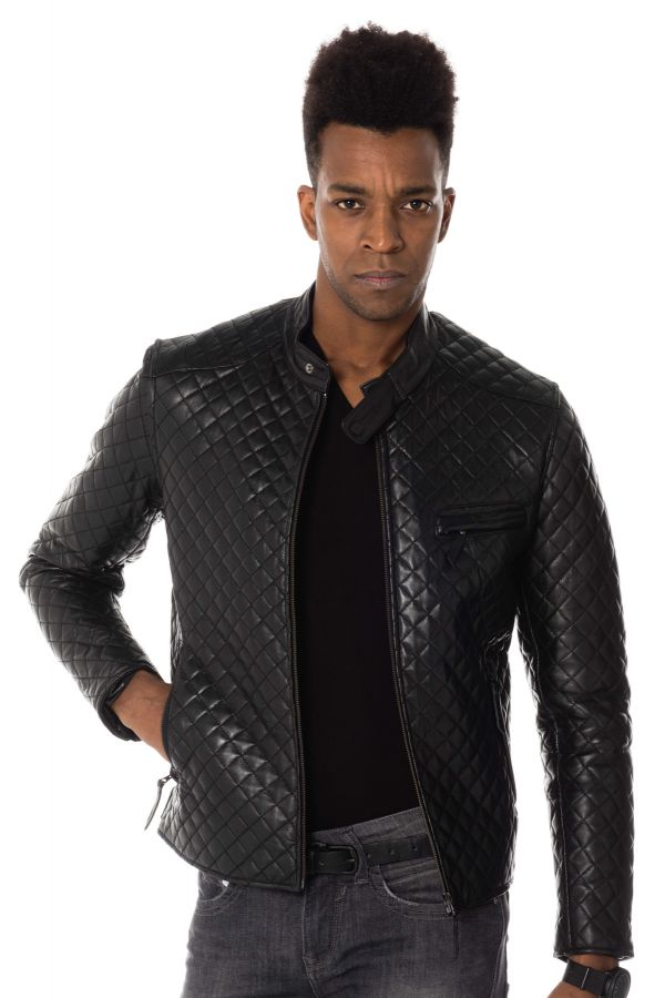 78ec22cd9d2 Blouson Homme Serge Pariente TOP MAN QUILT BLACK ZZ - Cuir-city.com