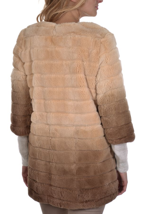 Veste Femme Serge Pariente LONG REX TIE AND DIE BEIGE