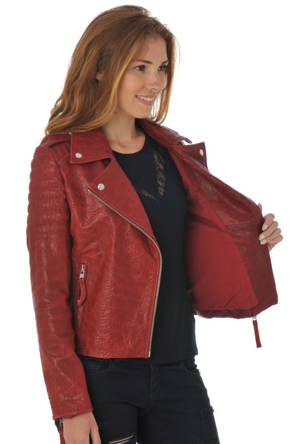 Blouson Femme Serge Pariente CITY GIRL QUILT DARK RED