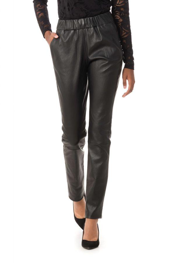 01d6a74e9d27 Pantalon Femme Ventcouvert ELSA AGNEAU STRETCH NOIR - Cuir-city.com