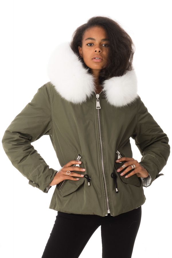 Blouson Femme Wild Arctic By Flo & Clo FLY DOUBLE TEX + FUR SALVIA
