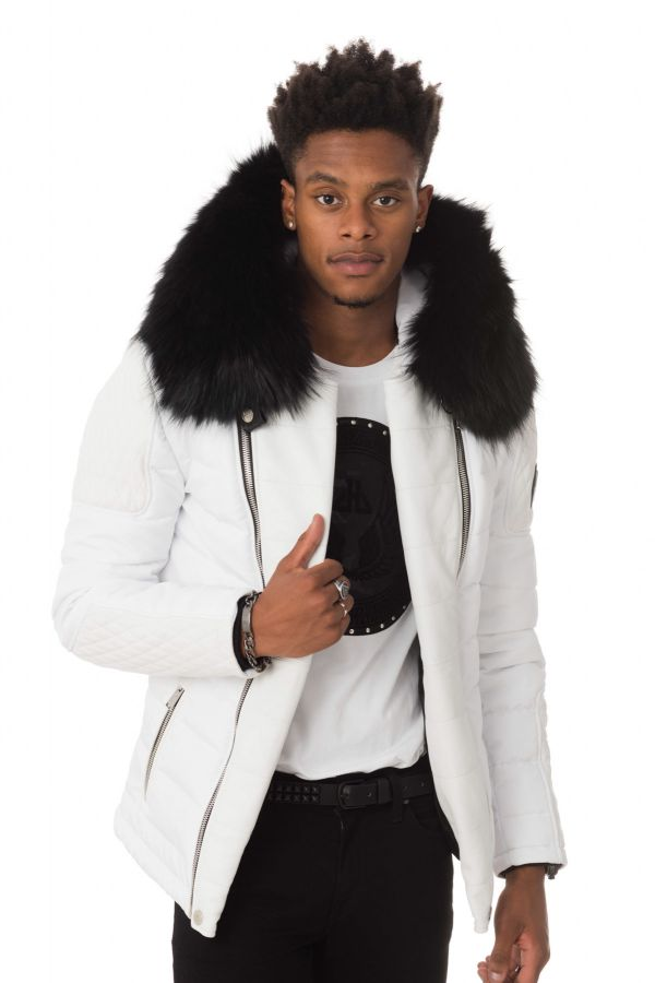 Full Cuir Horspist Blouson Carlton Col White Noir Homme 2018 4AaxawHt
