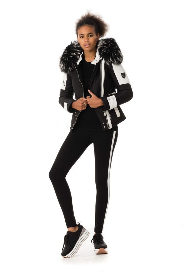 Blouson Femme horspist MILANO  BIS NOIR BLANC COL SILVER 2018