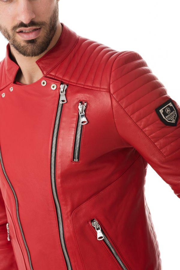 Blouson Homme horspist MANOIR CUIR FULL RED