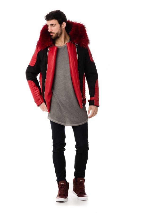 blouson homme horspist vegas noir rouge col rouge cuir. Black Bedroom Furniture Sets. Home Design Ideas