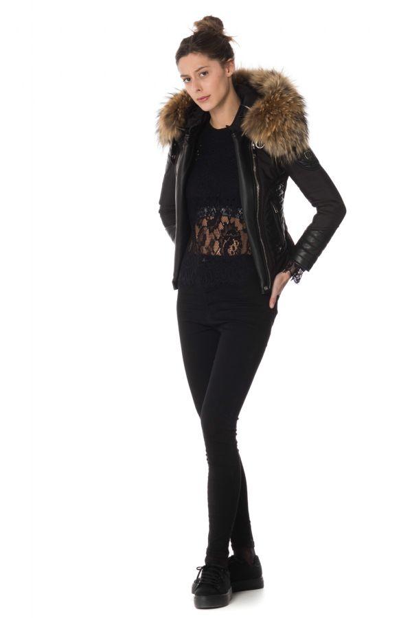 Blouson Femme horspist ORTEGA NOIR COL NATUREL 2018