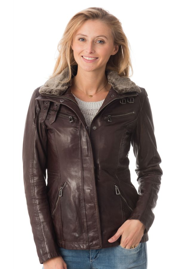 veste femme avec fourrure veste doudoune en cuir d agneau. Black Bedroom Furniture Sets. Home Design Ideas