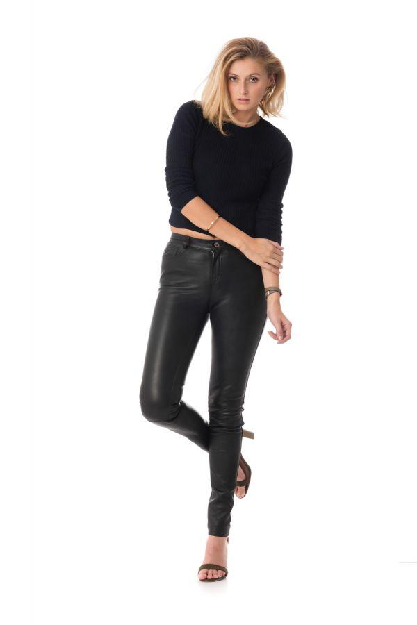 Pantalon Femme Serge Pariente SEXY STRETCH NAPPA BLACK