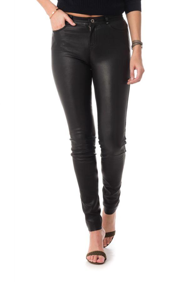 2e9d9c6b8085 Pantalon Femme Serge Pariente SEXY STRETCH NAPPA BLACK - Cuir-city.com