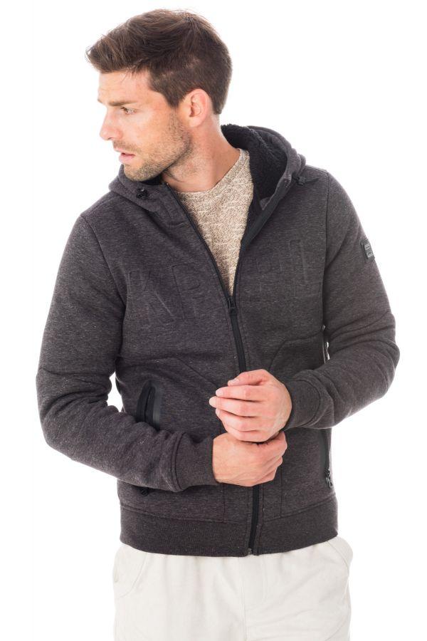 pull sweatshirt homme kaporal nichi dark grey melanged h16 cuir. Black Bedroom Furniture Sets. Home Design Ideas