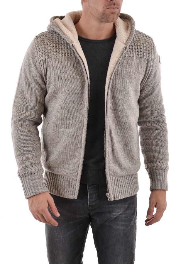 pull sweatshirt homme schott plfact2 heather beige cuir. Black Bedroom Furniture Sets. Home Design Ideas