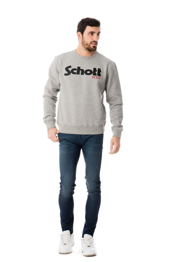 Pull/sweatshirt Homme Schott SWCREW HEAT.GREY