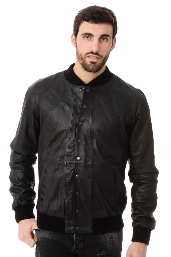 Blouson Homme Napp Jeans COLLEGE PERFORATED JACKET BLACK