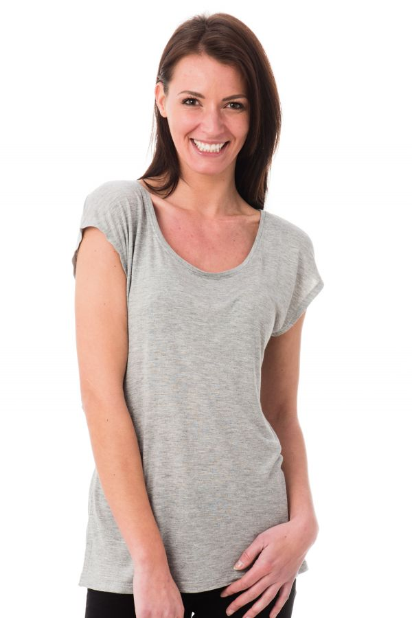 Tee Shirt Femme Kaporal AGNES LIGHT GREY MELANGED P17