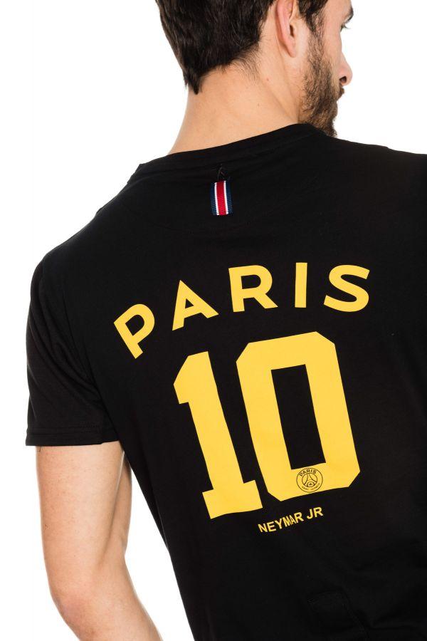 tee shirt homme paris saint germain t shirt d neymar noir cuir. Black Bedroom Furniture Sets. Home Design Ideas