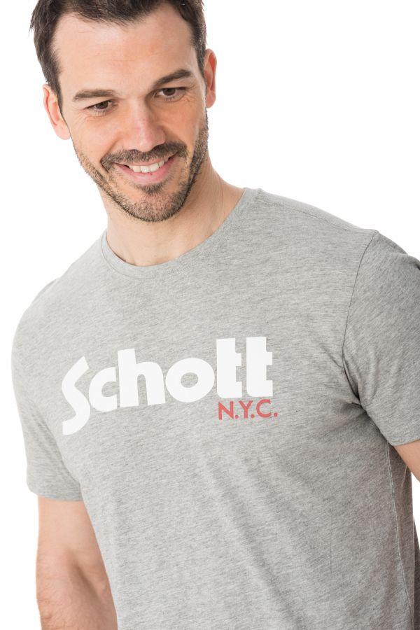Tee Shirt Homme Schott TSLOGO H GREY