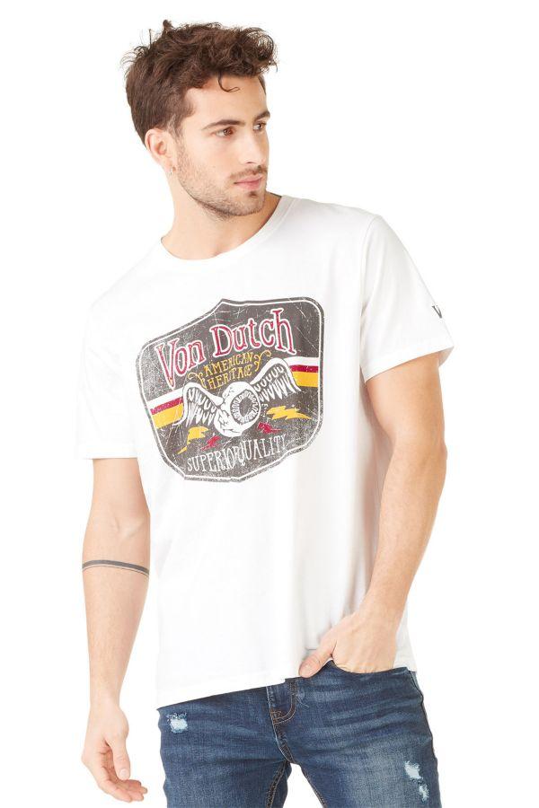 Tee Shirt Homme Von Dutch T SHIRT GAS BLANC