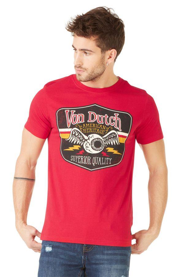 Tee Shirt Homme Von Dutch T SHIRT GAS ROUGE