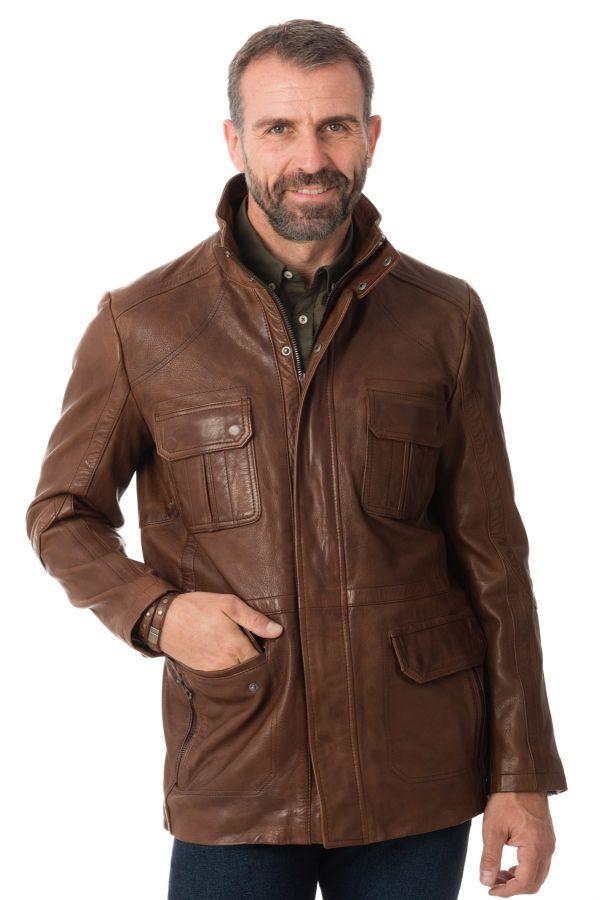 Veste saharienne cuir homme chevignon