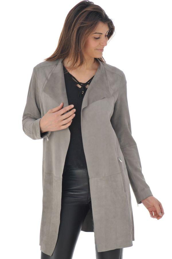 veste femme oakwood aphrodite gris 527 cuir. Black Bedroom Furniture Sets. Home Design Ideas