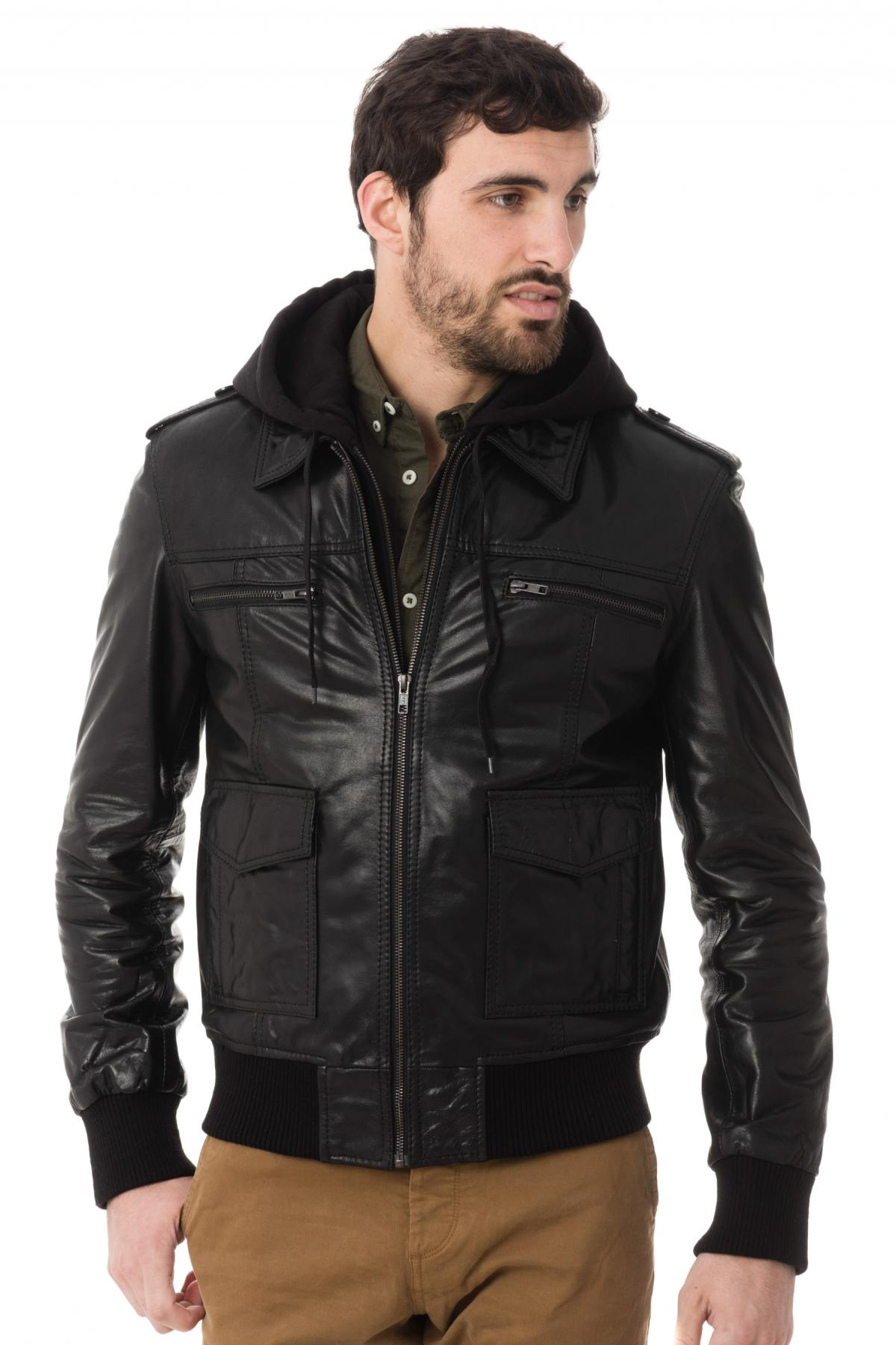 668fb26cae6 Blousons Cuir Homme Aspect Brillant - Cuir-city