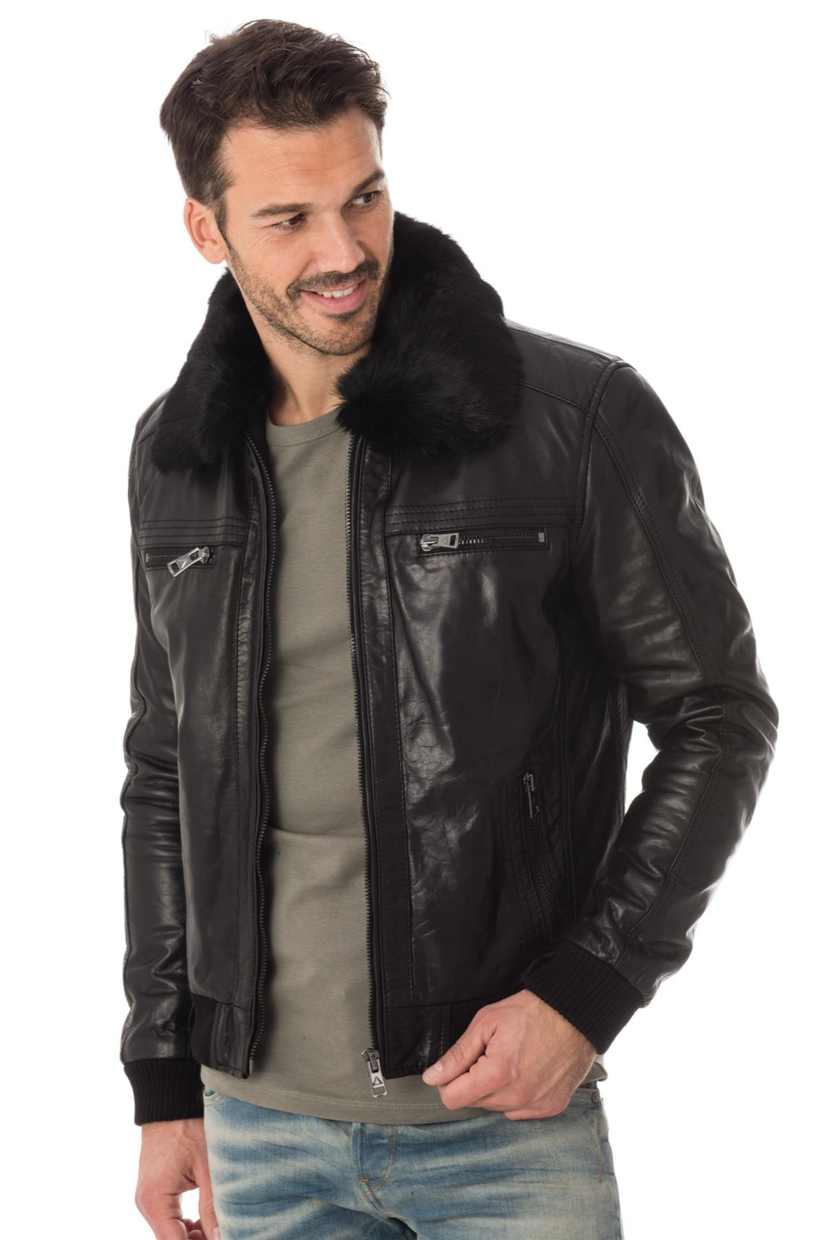blouson homme col fourrure blouson homme noir avec col. Black Bedroom Furniture Sets. Home Design Ideas