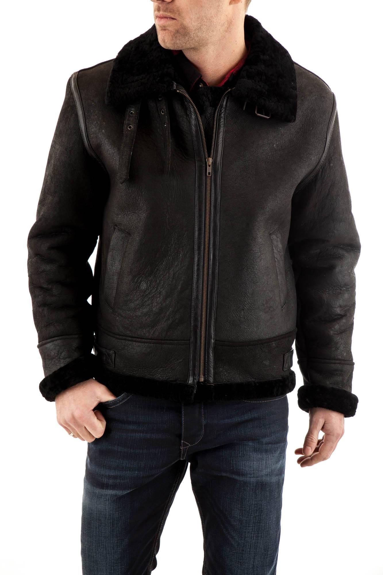 Blouson en cuir noir homme pas cher