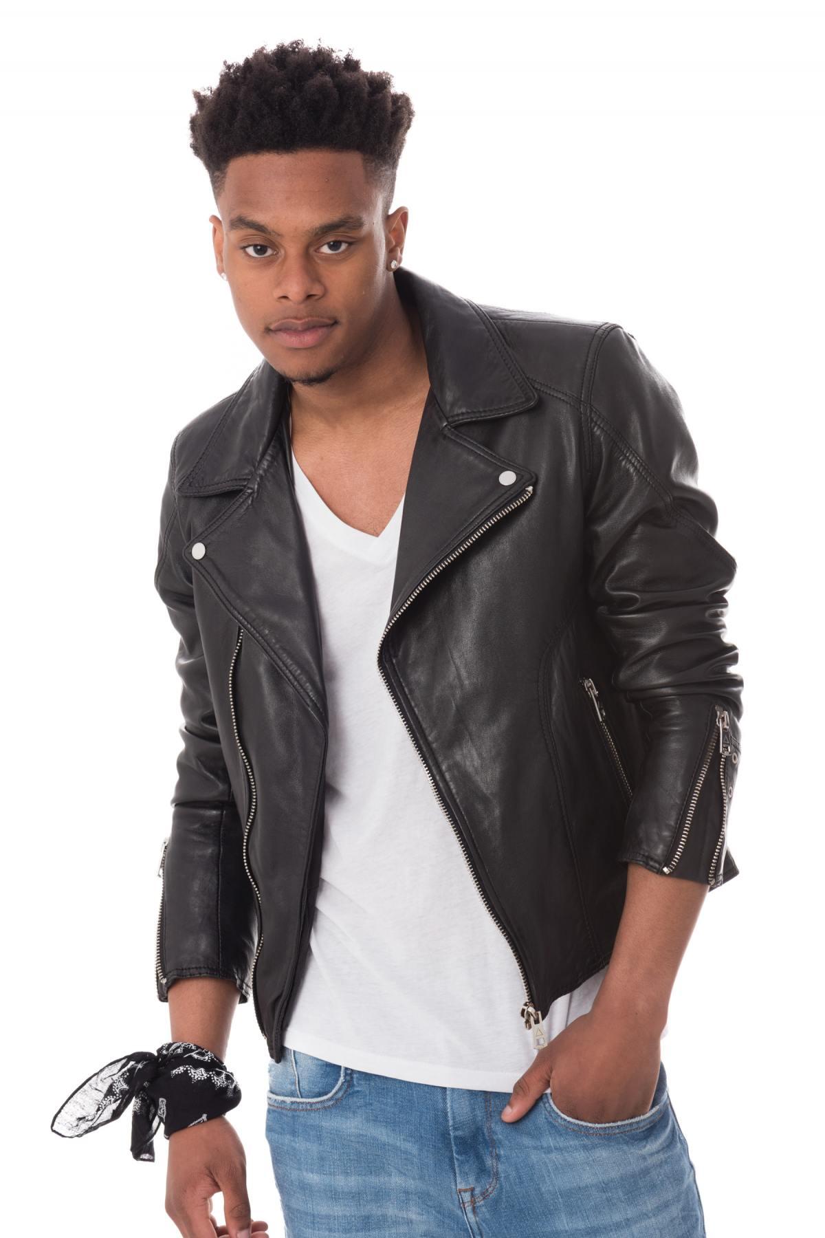 Serge Man Pariente Black Cuir Perf Homme Blouson 5Fxg5p