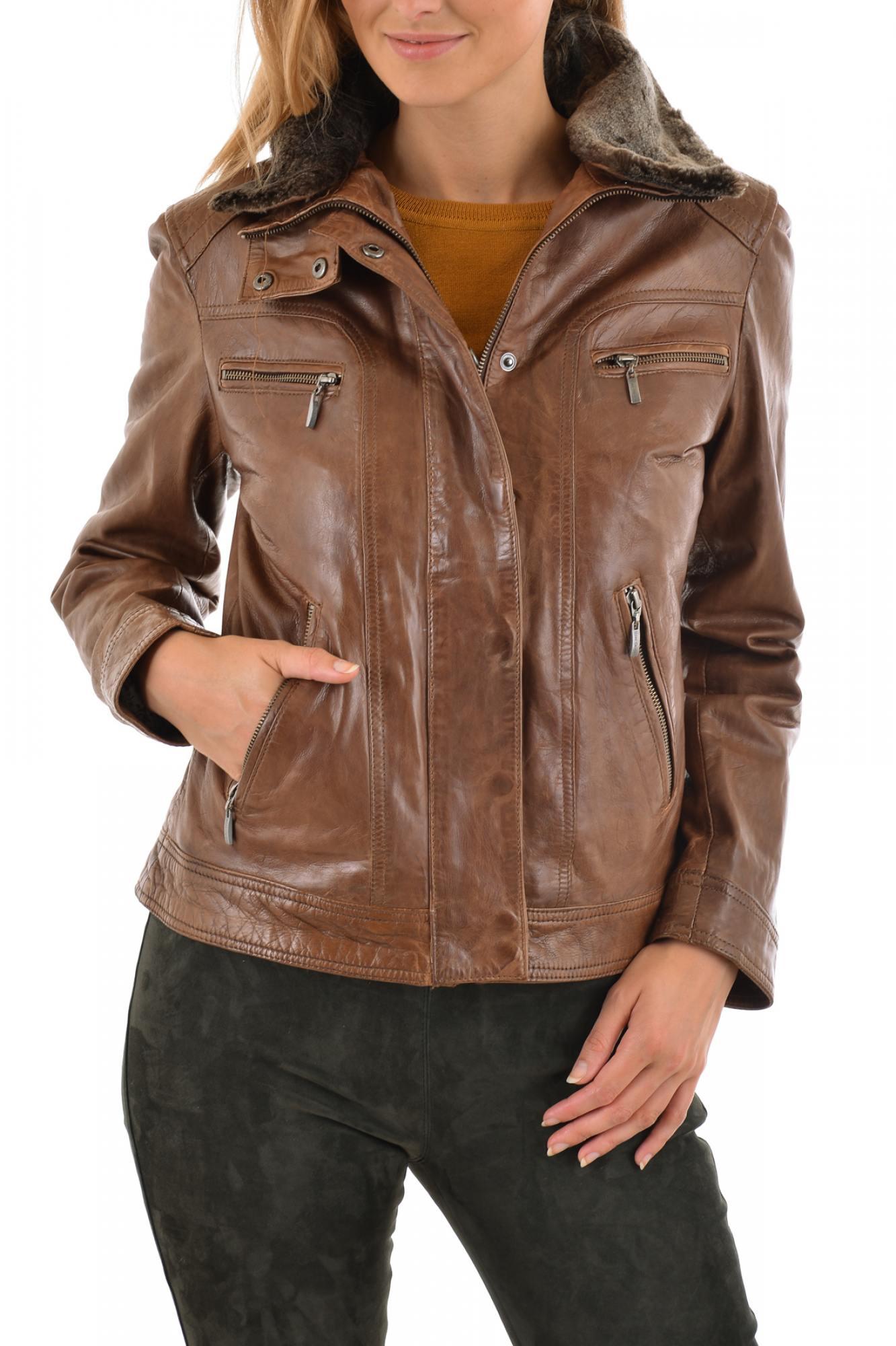 Veste cuir marron femme solde