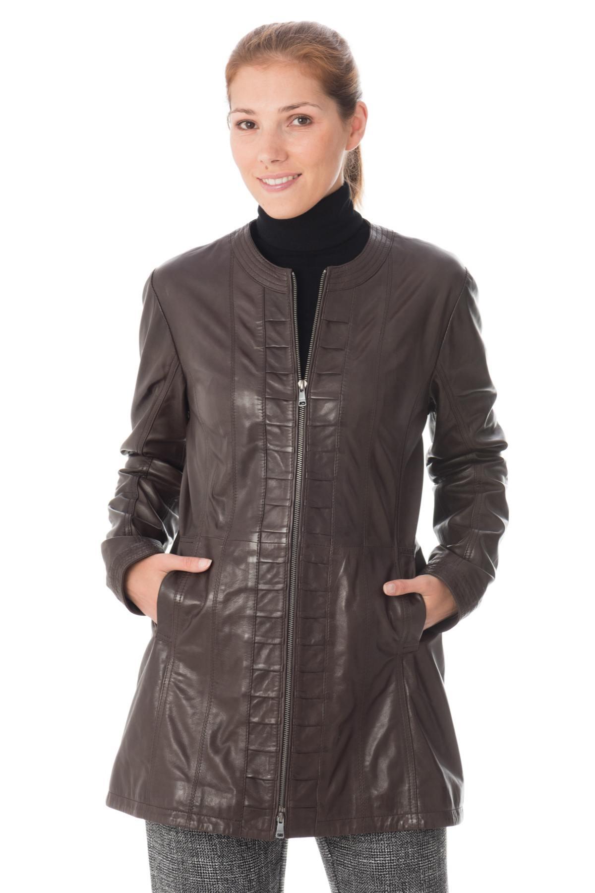 Vestes Mi-longues en cuir Femme - Veste 3 4 - Cuir City 272a66d3286