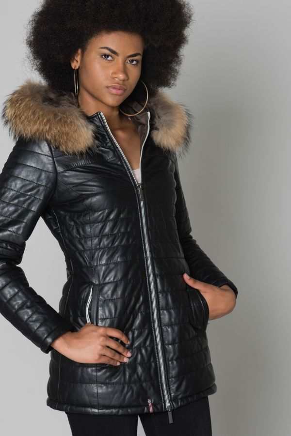 Oakwood Poppy Doudoune en cuir Femme Noir Achat
