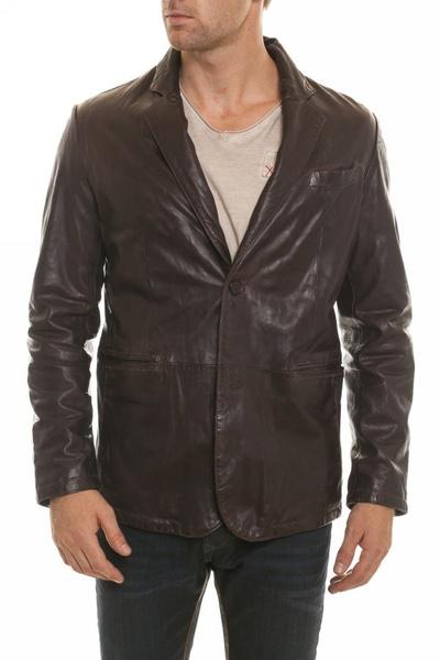 Veste en cuir pour Homme Daytona Reddish Brown              title=