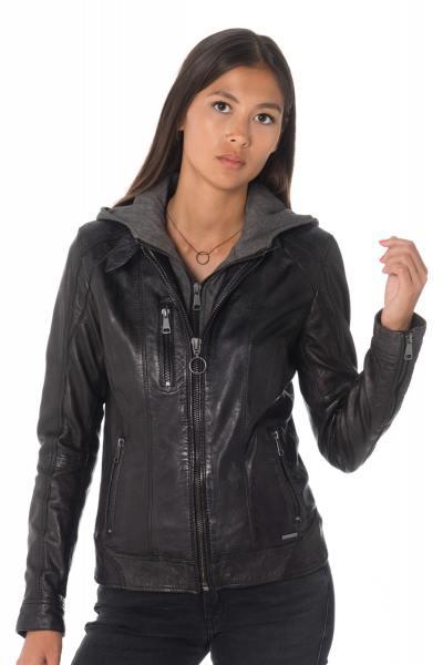 Blouson en cuir noir avec capuche cityzen femme