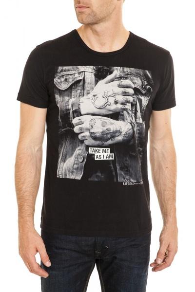 schwarzes Herren-T-Shirt KAPORAL mit Rundkragen              title=