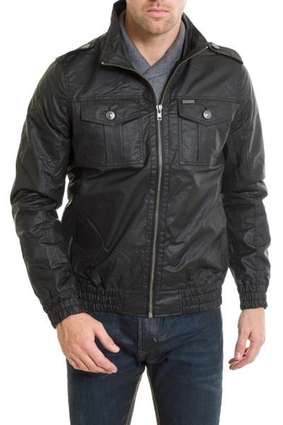 Schwarze Jacke KARPORAL mit Stehkragen