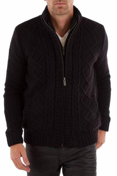 schwarzer Herren-Cardigan KAPORAL aus Baumwolle