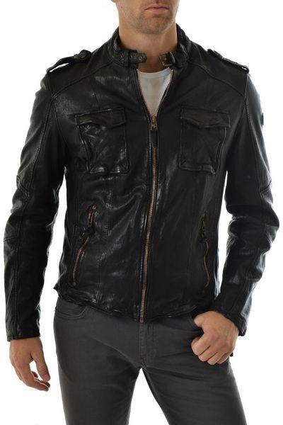 Blouson Gipsy en cuir Noir pour Homme              title=