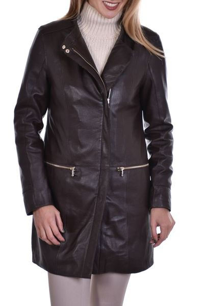 veste femme oakwood en cuir de mouton bordeaux              title=
