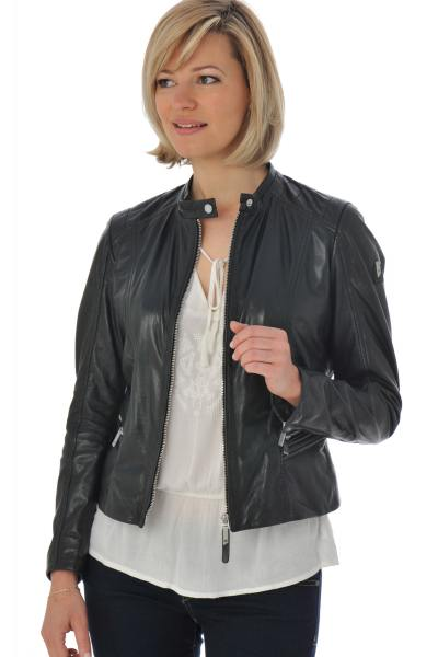 Blouson femme en cuir d'agneau noir              title=